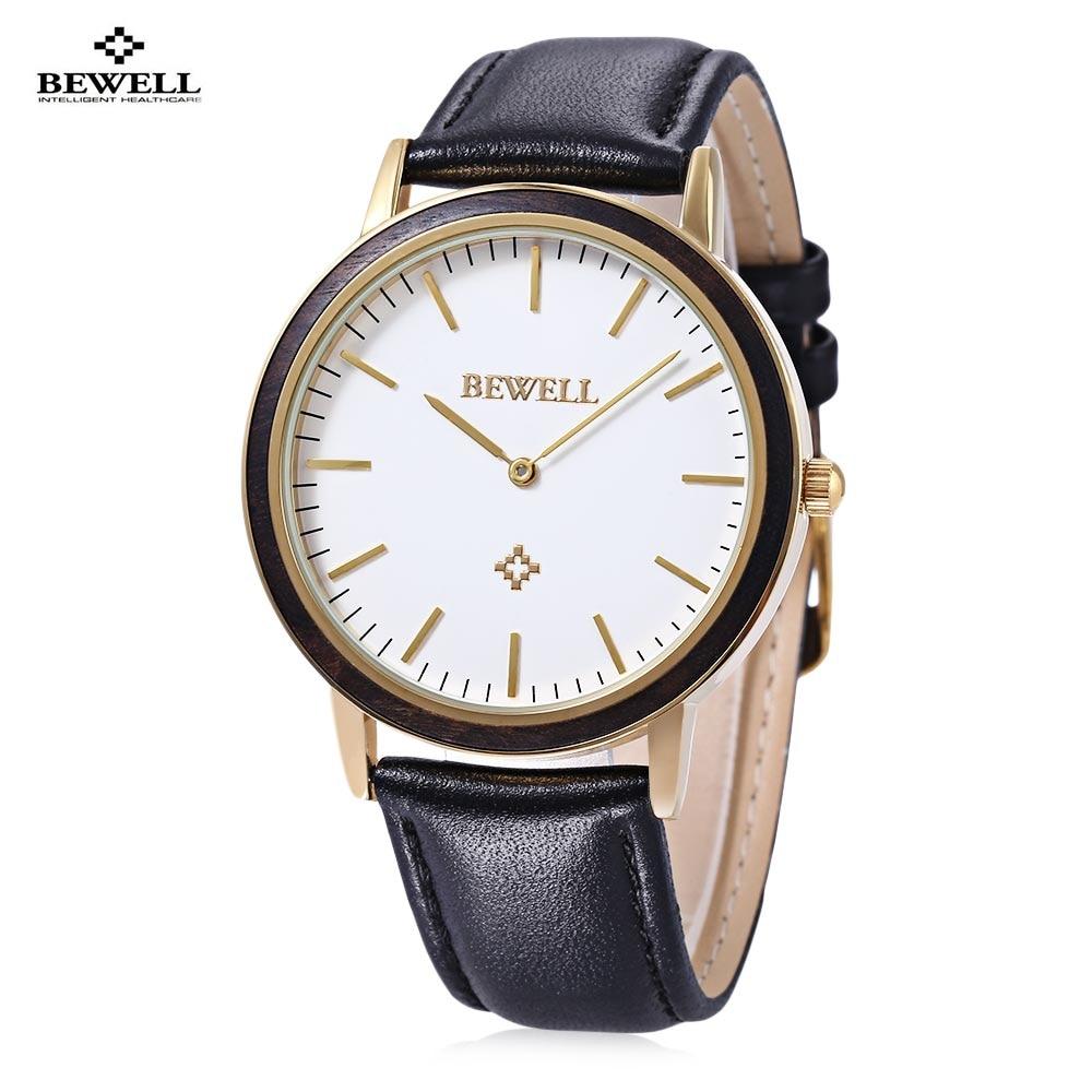 BEWELL Men Women Dress Quartz Watch Nail Shape Scale Japan Movt Leather Strap Wristwatch
