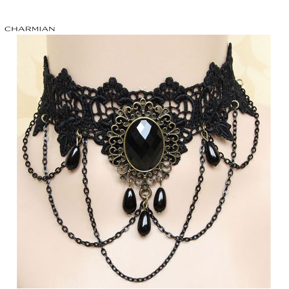 Charmian Elegant Vintage Gothic Victorian Lace Jewelry Choker Necklace Accessories