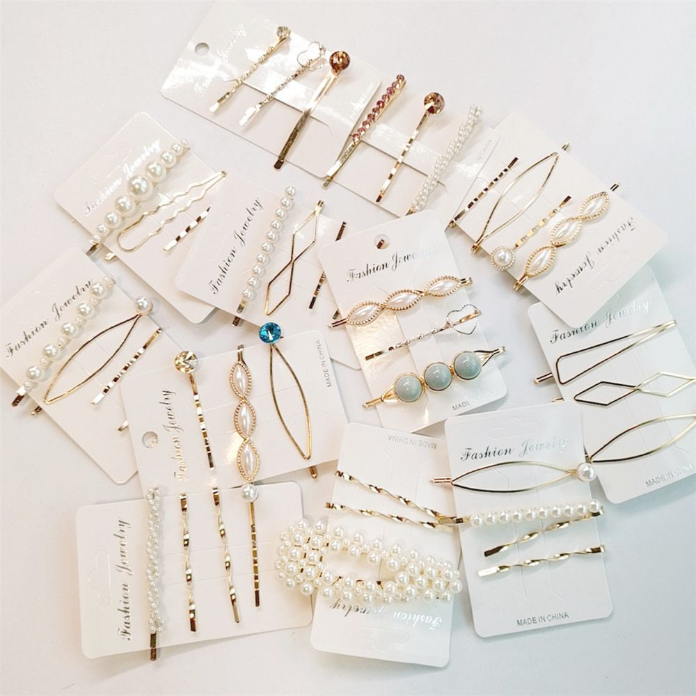 3/4Pcs/Set Pearl Metal Hair Clips Women Hairpin Girls Hairpins Barrette Bobby Pin Hairgrip Hair Accessories Dropship New Arrival