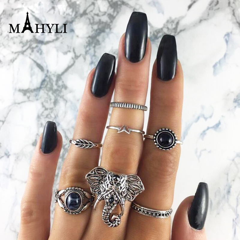 2017 Boho Jewellery punk ring outfit. Retro. leaves .Geometric. Elephant animal design rings. Silver Turkish women's jewelry