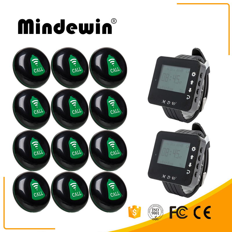 Mindewin Restaurant Table Calling Button Wireless Waiter Call System 12PCS Call Button M-K-1 and 2PCS Watch Pager M-W-1 wireless bell button for table service and pager display receiver showing call number for simple queue wireless call system