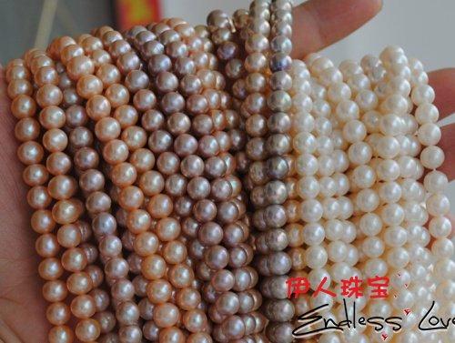 Натурального разноцветного жемчуга 7-8 мм Цепочки и ожерелья, Жемчужная Нить 38 см в длину, 3 шт./лот