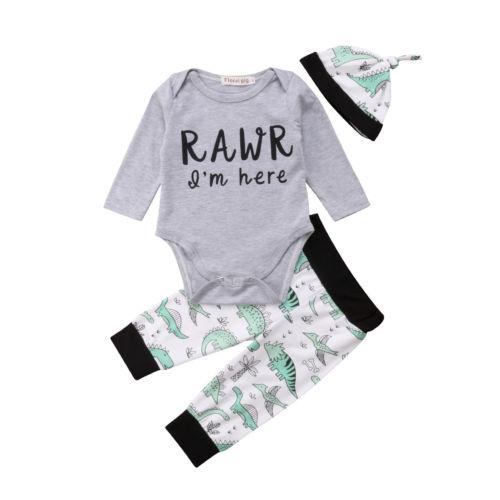 23629b62221f0 الوليد طفل طفل طفل رضيع ملابس طويلة الأكمام بذلة أعلى + ديناصور السراويل  وتتسابق مجموعة