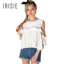0a1f8e211b9a8d IRISIE Apparel White Sweet Ruffle Women Top Tees Red Frill Casual Slim Female  Tops Cold Shoulder