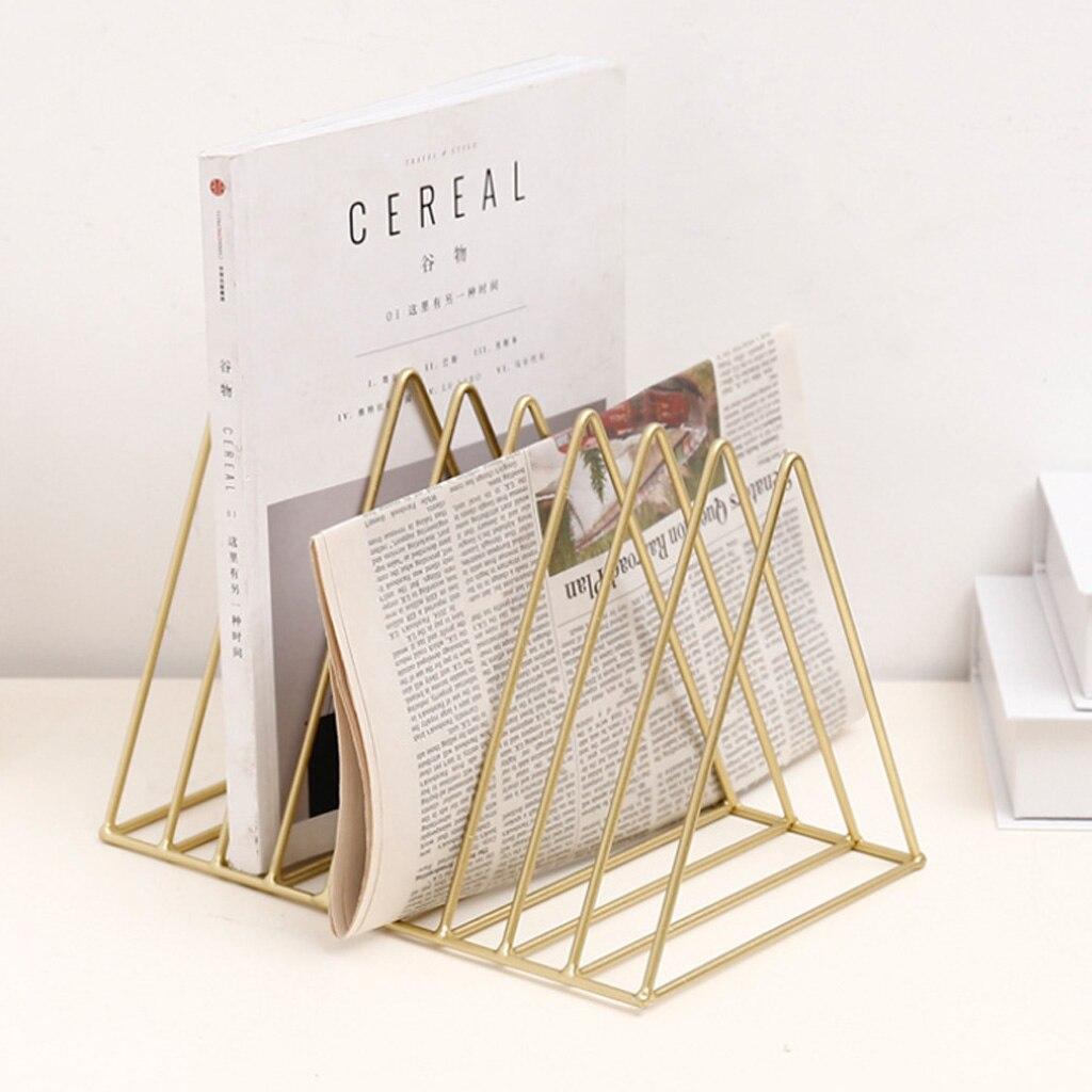 Driehoek File Organizer Boekenplank Houder Draad Collectie Ijzeren Opbergrek Bibliotheek Journal Voor Office Home Decoratie Minimalistische