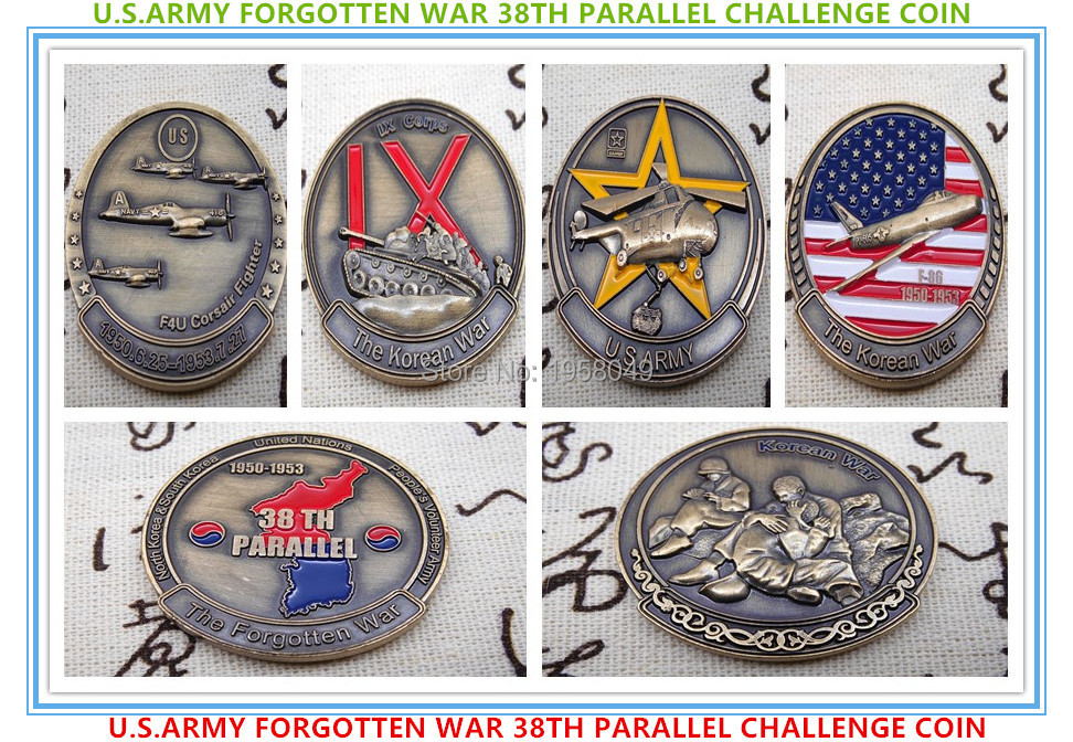 Free Shipping 2Set of, A Collection Of Rare - U.S.ARMY FORGOTTEN WAR 38TH PARALLEL CHALLENGE COIN