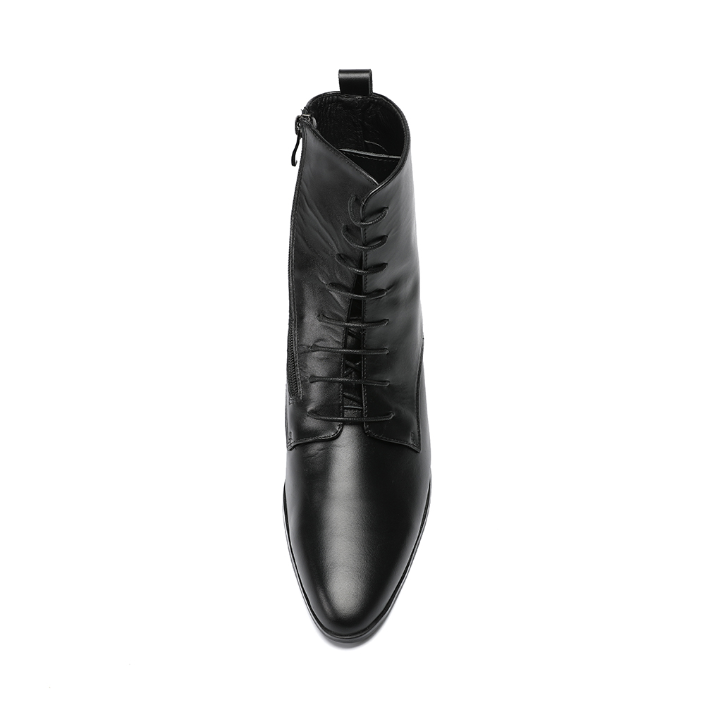 Los Botas Tacones Zapato De Zapatos Christia Hombres Tobillo Tacón Hombre Cremallera Alto Cuero Bella Moda Negro Para Moto fxw60