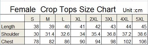 crop tops size chart