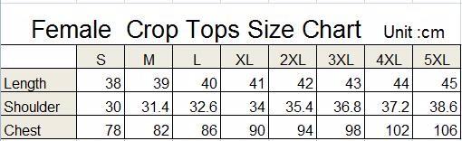 crop tops size chart