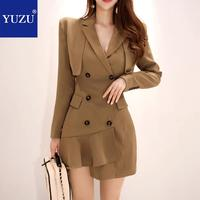 Vintage Blazer Dress Luxury Champagne Ruffles Office Business Double breasted Long Sleeve Pencil Solid Mini Winter Short Dresses