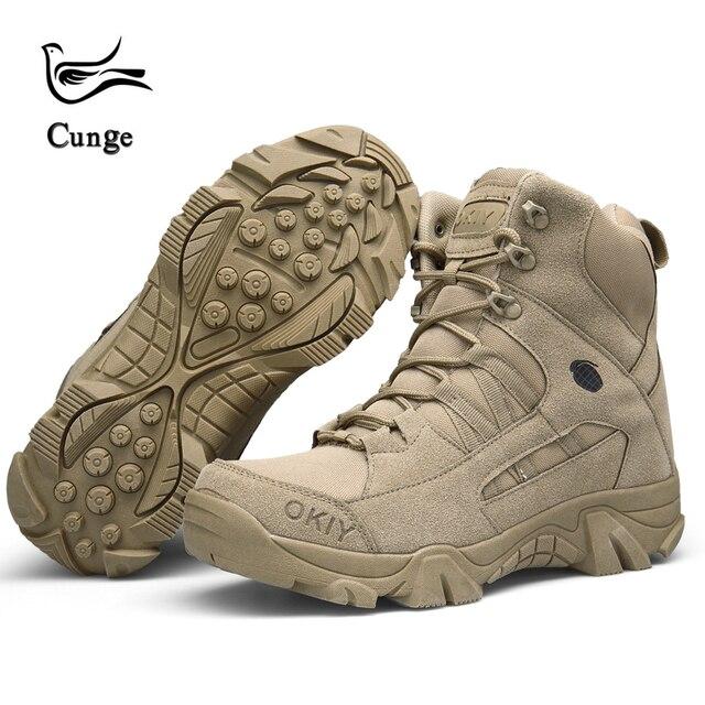 cunge Men Outdoor Sports Mountain climbing shoes Trekking Hiking shoes Waterproof Anti-skid Dirt-resistant Tactics shoes