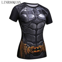 LINRAOQIAN Harajuku 3d Print T Shirt Women Quick Drying Compression Shirt Summer Tops Short Sleeve Fitness