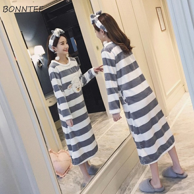 b52b73e238 Nightgowns Women Winter Kawaii Long Sleeve Thicken Nightgown Flannel  Bathrobe Womens Cartoon Sleepwear Soft Warm Trendy