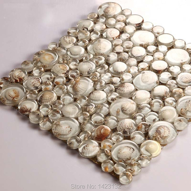Finest Glass mosaic tiles melted seashell Crystal glass pebble tile 619  RC53