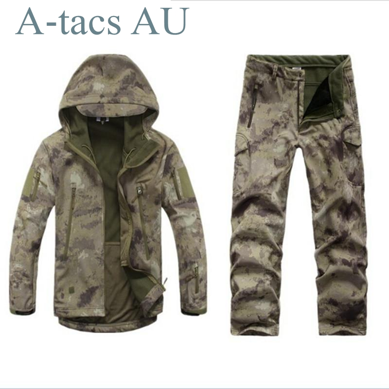 Shark Skin Camouflage Outdoors Military Jacket Men Waterproof Tactical Softshell Sports Hoodies Army Hunting Outdoor Jackets lurker shark skin soft shell v4 military tactical jacket men waterproof windproof warm coat camouflage hooded camo army clothing