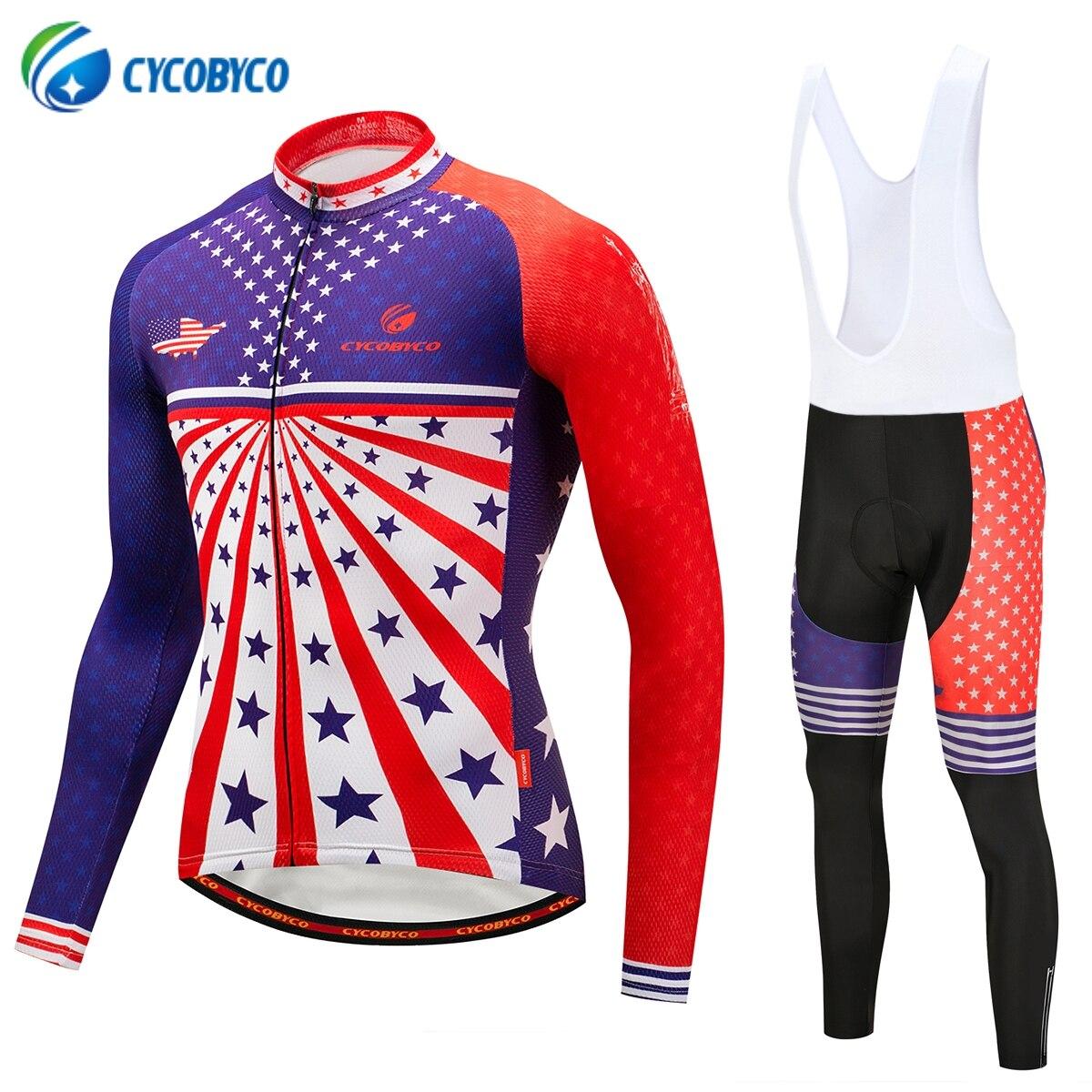 Nouveau Maillot de cyclisme ensembles à manches longues VTT vêtements porter Maillot Ropa Ciclismo séchage rapide course vélo vêtements Style USA