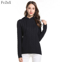 autumn winter 2018 women sweater pullovers Hooded solid color long sleeve female clothes jumper knitted casual loose woman tops