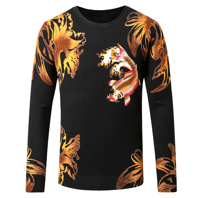 Chinese Style 3D Carp Pattern Printing Pullover Knitted Sweater Autumn 2018 Quality Cotton&viscose Soft Fancy Sweater Men M-5XL