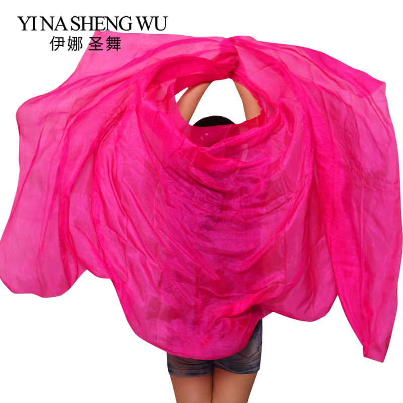 100% Silk Handmade Veils Belly Dance Performance Gradient Multi Color Silk Veil Belly Dance Accessories Kids Adults 5 Sizes