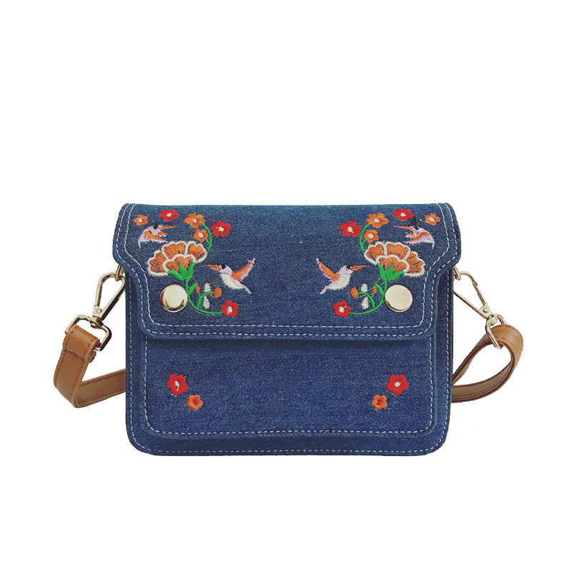 Vintage Embroidered Women Messenger Bags Luxury Brand Cover Denim Flower Blue Wo