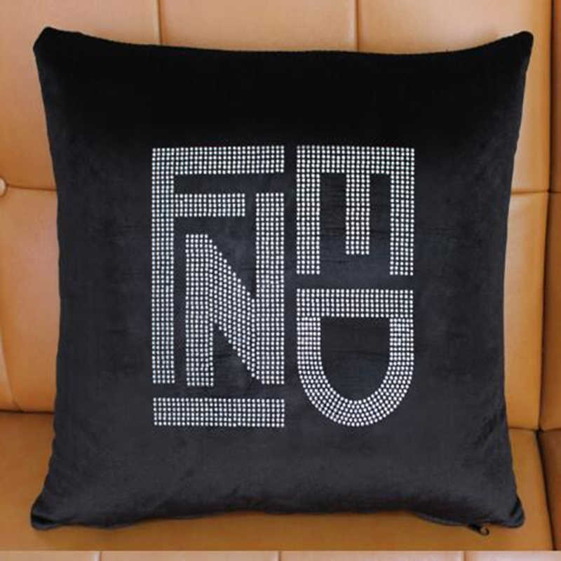 Bling Crystal Diamond Double F C Letters Pattern Black Color Velvet Car Home Sofa Chair Decorative Throw Pillow Cushion Cover