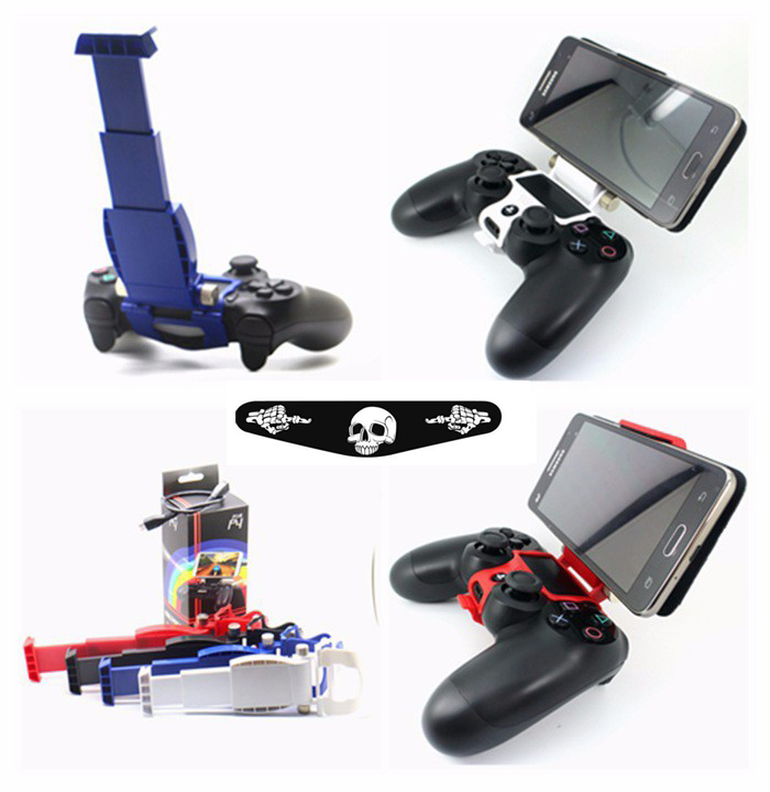 Clamp Cell Phone Clamp Smart Clip Holder Handle Bracket Support Stand for Playstation 4 PS4 Slim PS4 Pro Controller+LED Sticker