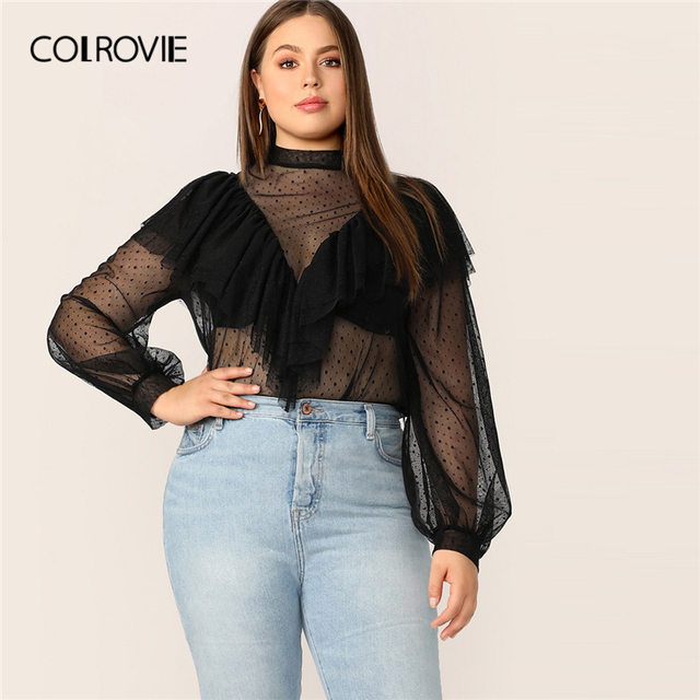 c3e3dc2f1 COLROVIE Plus Size Black Stand Collar Keyhole Back Dot Mesh Button Bishop  Sleeve Ruffle Blouse Women 2019 Spring Ladies Tops