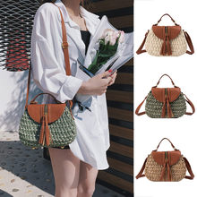 Coneed Summer Sell Well Women's Retro Trend Hand-Knitted Bag Tassel Straw Shoulder Diagonal Bag June 24 P35(China)
