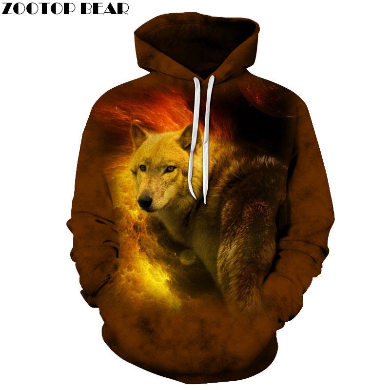 78da9cea6 Fogo Lobo Camisolas Dos Homens Hoodies Moda Casaco Com Capuz Abrigo Animal  3D ZOOTOP URSO Impressão Pullover Outono Bolso do Casaco do Navio Da Gota