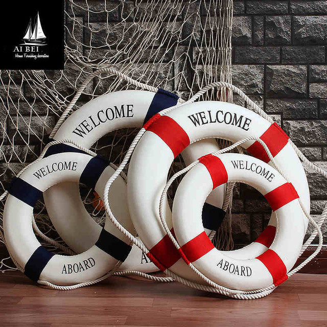AIBEI-45CM/50CM/60CM Cloth Swim Ring Mediterranean Style Needlework Wall Hanger Nautical Home Decor Photo Props Crafts