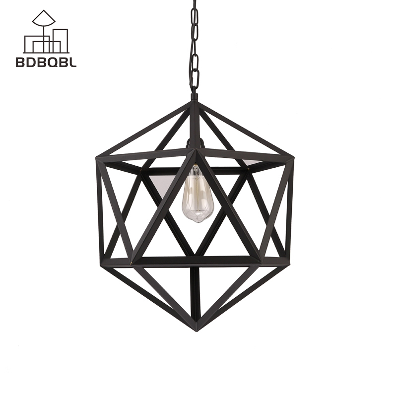 BDBQBL Vintage Pendant Lights Black Iron Cage Hanging Lamps Ceiling Surface Light Fixture For Living Room Dinning Room StudyBDBQBL Vintage Pendant Lights Black Iron Cage Hanging Lamps Ceiling Surface Light Fixture For Living Room Dinning Room Study