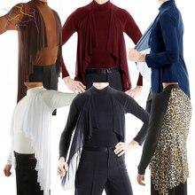 ملابس علوية أنيقة بأكمام طويلة قميص ممارسة حديث للرقص اللاتينية للذكور البالغين بدلة منافسة ملابس أداء DWY1116