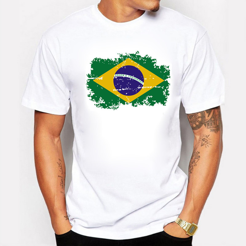 New Tops Summer Brazil Flag Fans Men T shirts Cotton Nostalgia Brazil Flag Style Rio Games Fitness T-shirts for Men
