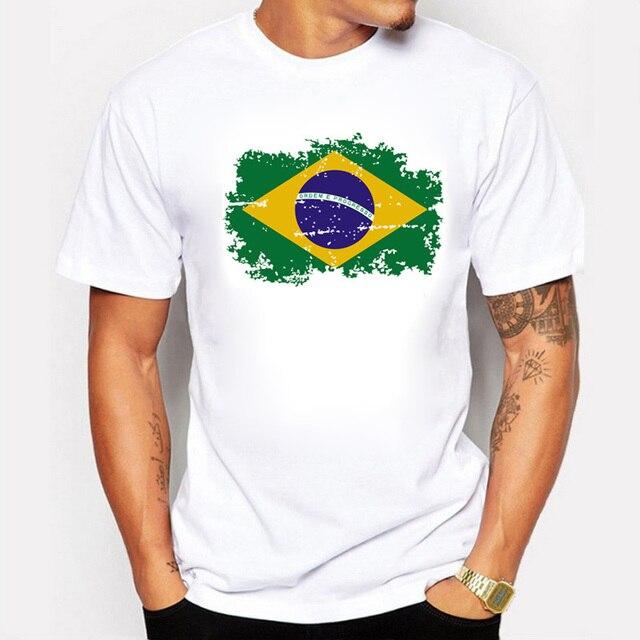6dc7647bb40ad7 New Tops Summer Brazil Flag Fans Men T shirts Cotton Nostalgia Brazil Flag  Style Rio Games Fitness T-shirts for Men
