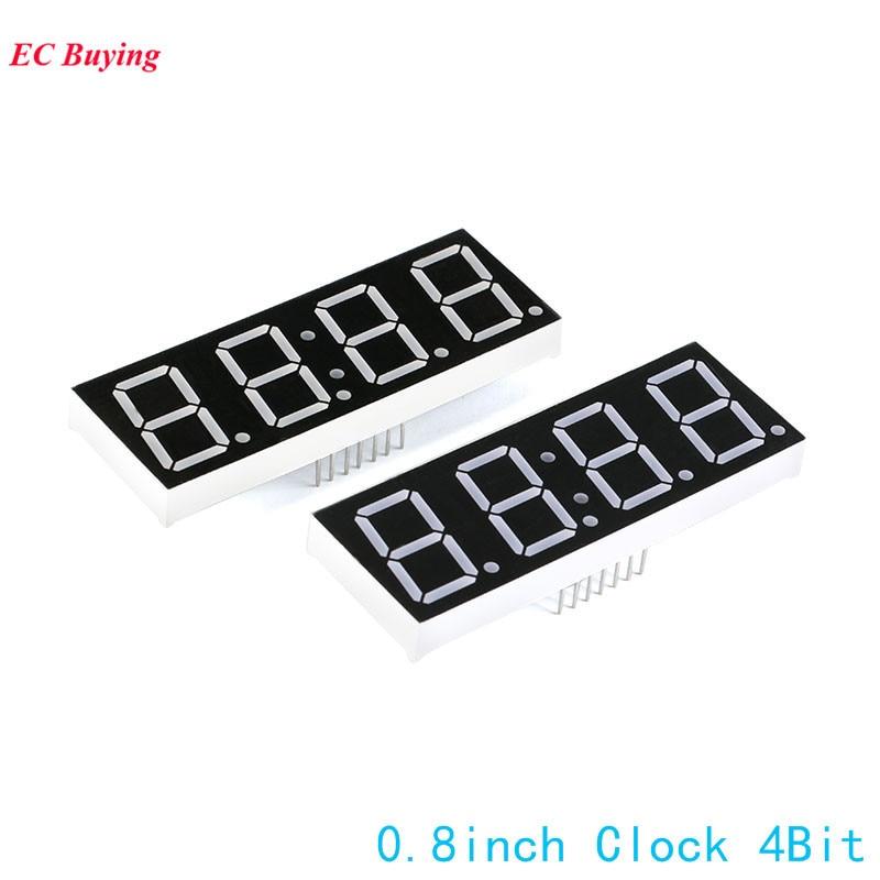10Pcs 0.8 Inch 4Bit 7 Segment Display Clock Digital Tube Common Cathode Segment LED Red DIY 7Pin Electronic Board