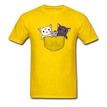 Personalized Mens Tops T-Shirts Cute Pocket Kitten Cats Team Family Shirt Plain Short Sleeve Normal T Yellow Tees