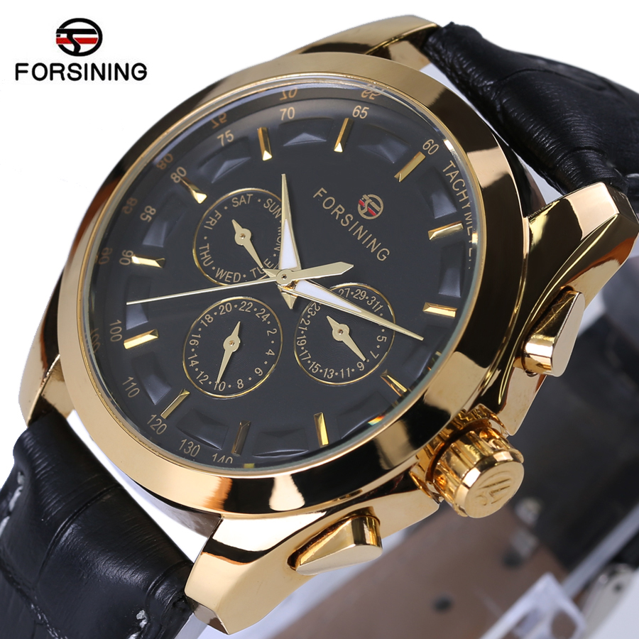 FORSINING Luxury Clock Men Leather Vintage Watch Classic Retro Black Gold Dial Relogio Male Masculino Mechanical Automatic Watch forsining gold hollow automatic mechanical watches men luxury brand leather strap casual vintage skeleton watch clock relogio