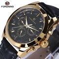 Forsining luxo relógio clássico relógio de couro dos homens do vintage retro gold black dial relogio masculino masculino relógio mecânico automático