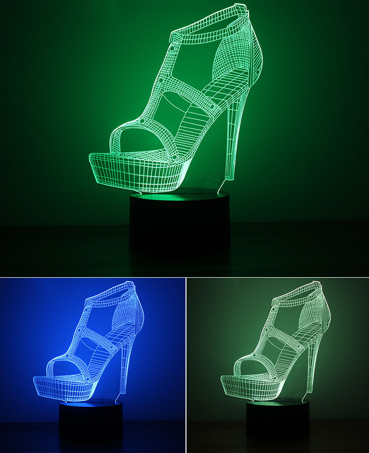 3D Illusion LED Lights High Heels Shoes 3D Night light Table