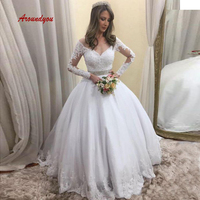 Elegant Long Sleeve Wedding Dresses Ball Gown Plus Size Lace Turkey Weeding Bridal Bride Gowns Dresses