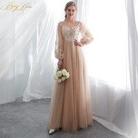 BeryLove элегантные, цвета шампанского платье для выпускного вечера es Тюль с длинным рукавом Кружевное платье для выпускного вечера 2019 Vestidos De