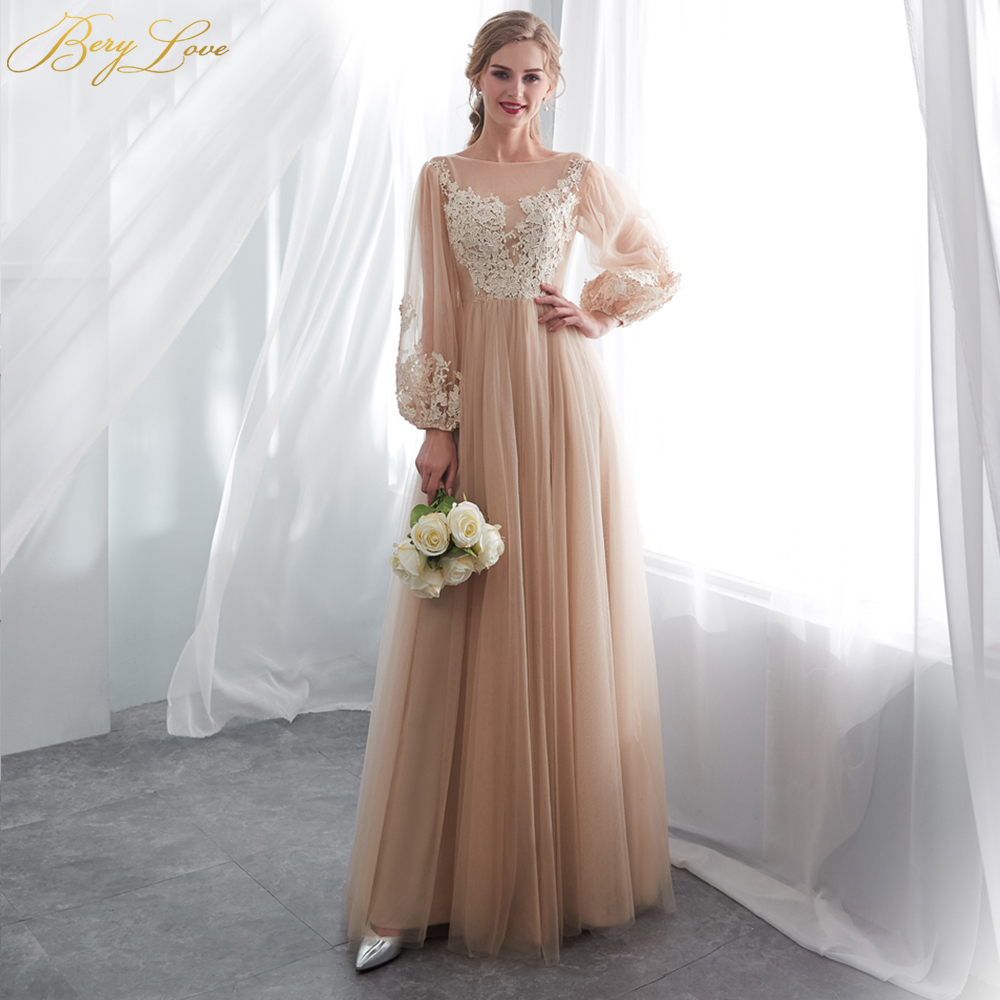 BeryLove Elegant Champagne Prom Dresses Long Sleeves Tulle Lace Prom Dress 2019 Vestidos De Fiesta Prom Gowns Formal Party Dress