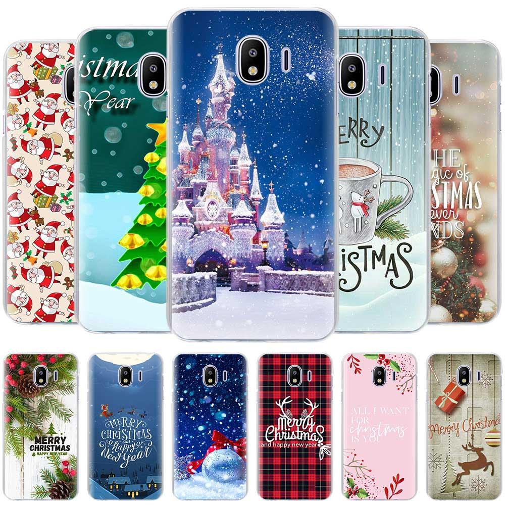 happy New Year Christmas snowflake Cases for Samsung Galaxy J4 Plus J6 Plus J8 2018 J3 J5 J7 2017 J5 Prime hard Housing Cover
