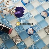 Niebieskie szkło kryształowe mieszane muszla morze płytki z mozaiką EHGM1050 do kuchni backsplash łazienka prysznic jadalnia płytki z mozaiką w Naklejki ścienne od Dom i ogród na