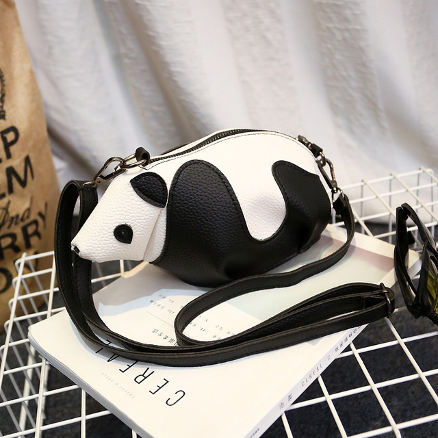 Hot Sale Personality Fashion Cute Cartoon Panda Bags Women Leather Crossbody  Bag Causal Shoulder Messenger Bag Phone Coin Purses d8955825e5825
