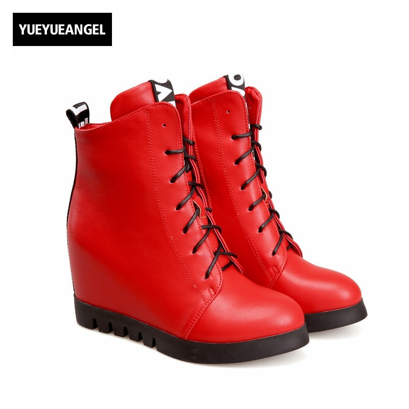 Womens Pu Leather Hidden Heel Creeper Casual Lace Up Ankle Boots Antiskid Zapatos Mujer Round Toe Fashion Wedges Female Shoes new 2016 fashion women winter shoes big size 33 47 solid pu leather lace up high heel ankle boots zapatos mujer mle f15