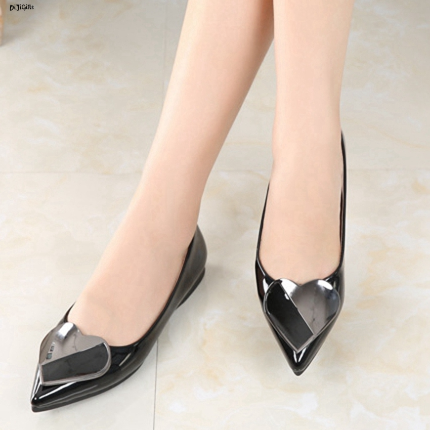 Women Fashion Patent Leather Flats Plus Size Slip On Pointed Toe Shoes Woman yh05
