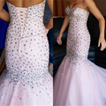 Sexy Pink Sweetheart Backless Mermaid Prom Dresses Luxury Rhinestone Beading Long Evening Gowns Princess Crystal Prom Dress 2017
