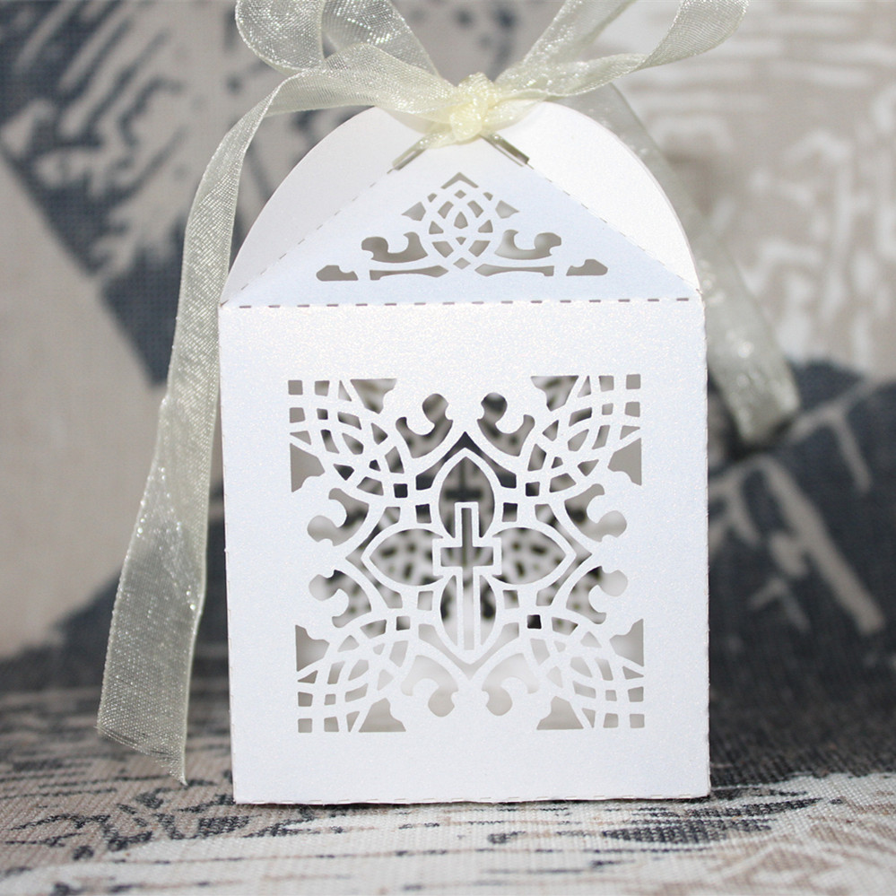 Aliexpress.com : Buy 50pcs Laser Cut Cross Wedding Favor Box Candy ...