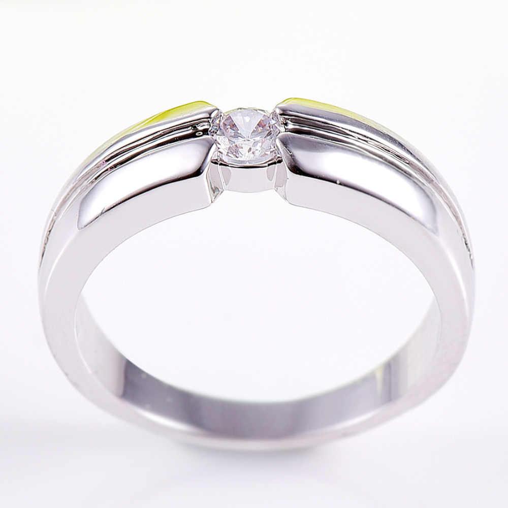 Lingmei Solitaire สไตล์แฟชั่น White Cubic Zircon Silver & White Gold สีแหวนขนาด 6 7 8 9 10 เครื่องประดับขาย